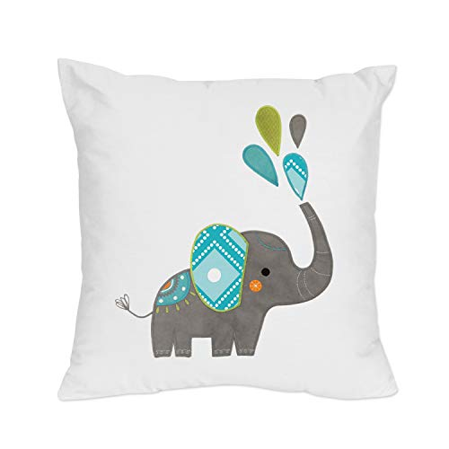 Sweet Jojo Designs Turquoise Blue, Gray and White Girl or Boy Decorative Accent Throw Pillow for Mod Elephant Bedding Set
