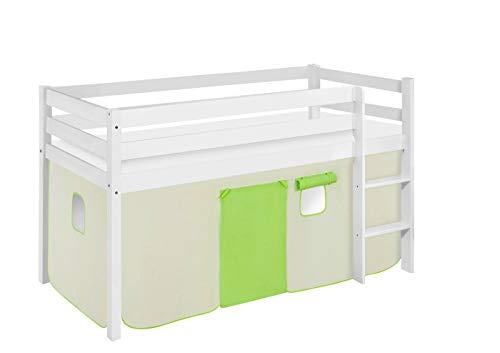 Lilokids Lit de jeu JELLE 90 x 190 cm, vert, beige, certifié TÜV & GS – Blanc – Lit mezzanine avec rideau et sommier à lattes
