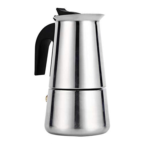 Cafetera de acero inoxidable Herramienta para hacer café Moka de varios tamaños con mango de diseño ergonómico para uso en la oficina en casa(100ml)