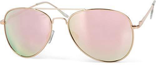 styleBREAKER Sonnenbrille verspiegelt, Pilotenbrille getönt mit Federscharnier, Unisex 09020037, Farbe:Gestell Gold/Glas Pink verspiegelt