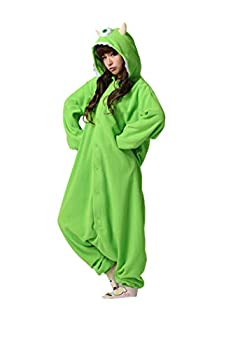 Es Unico Monster Inc Mike Wazowski Adult Onesie Costume for Women and Men.S Green