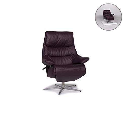 Himolla Leather Armchair Eggplant Purple Electrical Function Relax Function