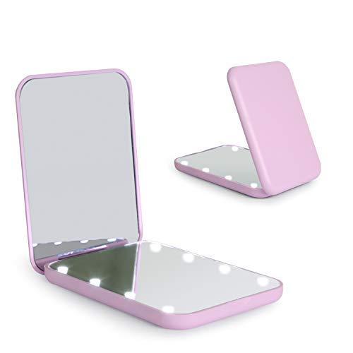 Wobsion Espejo plegable LED con interruptor magnético de 2 lados 1x/3x, espejo para el maquillaje de viaje, espejo de bolsillo para bolso, espejo de maquillaje con luces LED, regalo para ella