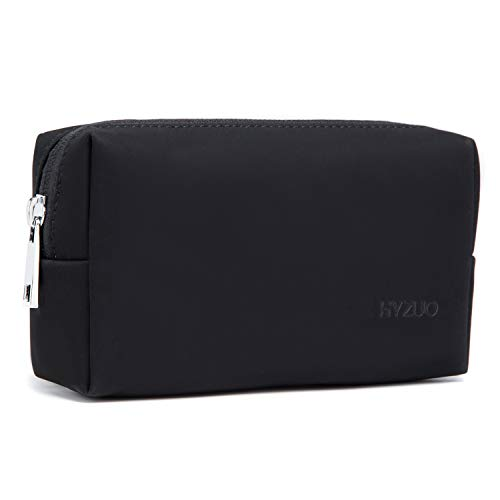 HYZUO Portable Laptop Accessory Pouch Bag Organizer Storage Carrying Case for Laptop Charger Mouse Cables Electronics Cellphone SSD, Faux Suede Leather Black
