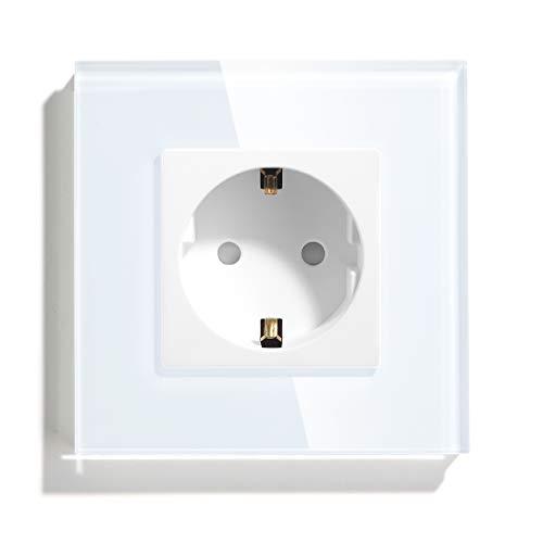 BSEED Glas Schuko Steckdose Single- mit Schrauben- Design Schutzkontakt Wandsteckdose mit Glasrahmen Weiß