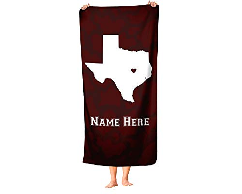 College Station Texas - State Pride Custom Beach and Bath Towel - Personalized Medium and Large Towels for Adults Kids College Football Basketball Fans