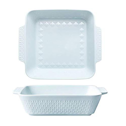 Plat de Cuisson en Porcelaine Moule à Brownie carrée avec poignée Plat de Cuisson Lasagne Plats de Cuisson pour Four Céramique Cocotte rectangulaire Bleu S