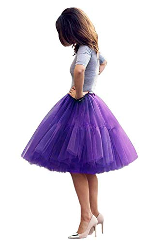 Tulle Skirt,Women's Midi Tulle Tutu Skirt Fluffy Princess Five Layers A line Party Prom Underskirt (Purple, Waist:65cm-95cm)