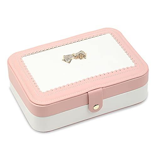 Yousiju Joyería Caja de joyería Viajes Joyería Comestica Caja de Almacenamiento Caja de Almacenamiento Anillo Dama Estuche Portátil Joyería Organizador Collares (Color : Pink)