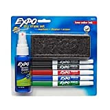 EXPO2 Low-Odor Dry-Erase Starter Kit, Fine-Point, 5 Markers, Black (2), Red, Blue, Green