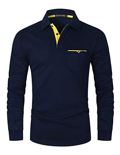 GHYUGR Polos Hombre Manga Larga con Bolsillo Colores de Contraste Poloshirt Camisa Otoño Golf T-Shirt Trabajo Camisetas,Azul,S