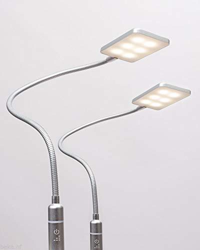 4W LED Bettleuchte Leseleuchte Flexleuchte Nachttischlampe Bettlampe Leselampe, Auswahl:2er Set silbergrau