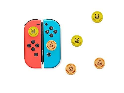 Switch Switch Lite 対応ジョイスティックカバー ロッカーキャップ ポケモン ピカチュウ 新品 ぷにぷに 親指グリップキャップ シリコン素材 滑り止めキャップ アナログスティック スイッチ ボタン保護カバー 4個入り(黄色)