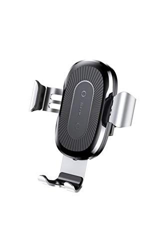 Baseus WXYL-0S - Soporte de teléfono móvil para Rejilla de ventilación de Coche (con Cargador inalámbrico), Color Plateado