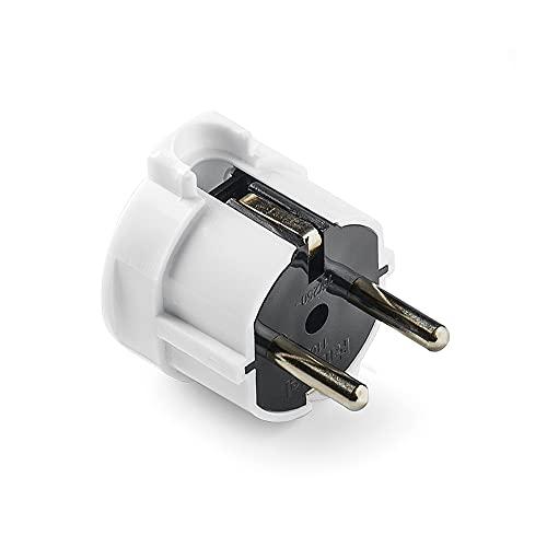 FAMATEL 1102-Spina Schuko 4,8 mm-TT uscita laterale, 16 A, colore: bianco