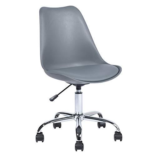 Bürostuhl Ohne Armlehne, Ergonomischer Drehstuhl, Schreibtischstuhl aus PP, Höhenverstellbar Rückenlehne, Grau
