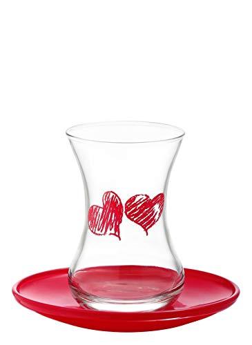 Juego de té LAV 12 piezas (6 vasos + 6 salchas) (Amore)