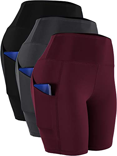 Cadmus Workout Shorts with Pockets High Waist Tummy Control for Yoga,10,Black,Grey,Wine Red,X-Large