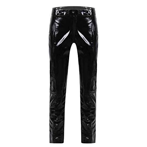 Agoky Herren Motorrad Lederhose schwarz Lange Hose Leggings Slim fit Strech Pants Wetlook Männer Glanz Clubwear M-XL Schwarz Reißverschluss Unten L