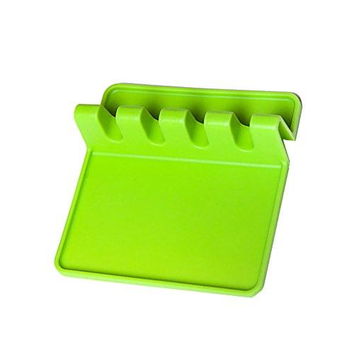 LOVIVER Soporte para Cuchara Soporte para Utensilios de Silicona Soporte para Cuchara Antideslizante a Prueba de Calor - Verde, Individual