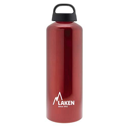 Laken Classic Alu Trinkflasche Weite Öffnung Schraubdeckel mit Schlaufe, BPA frei Aluminiumtrinkflasche, 1L, Rot