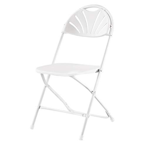 Zhedyi klapstoel, draagbaar, licht, stapelbaar, opvouwbaar, strandstoel voor bureaumeubels, eetkamerstoel, campingstoel, klapstoel, 150 kg, wit en zwart