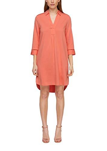 s.Oliver BLACK LABEL Damen Hemdblusenkleid mit V-Ausschnitt flamingo orange 40