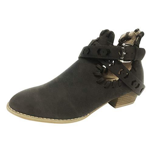 MIRRAY Damen Damen Freizeit Rom Solid Größe Low Heels Schnalle Kurze Stiefel Schuhe