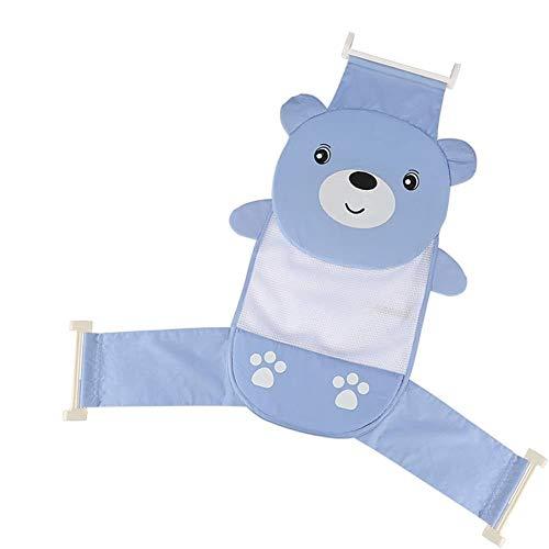 Asiento de baño para bebés, cama para ducha de bebé ajustable espesar soporte recién nacido neta bañera honda ducha malla azul oso
