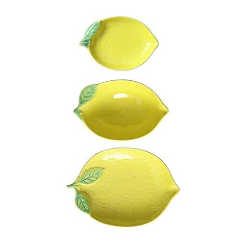 Andifany Platos y Vajilla Linda Vajilla para el Hogar Forma de LimóN Frutero Juego de Vajilla Plato de Personalidad para Desayuno 3 Piezas