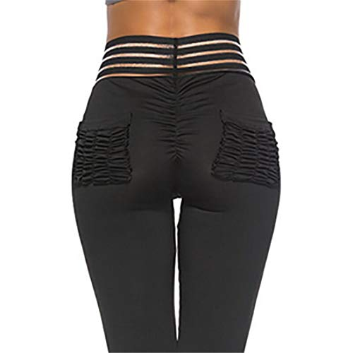 Globaltrade001 Mujer Push Up Leggins Fitness Pantalones Deportivos a Rayas Mallas con Bolsillos Vita Alta Yoga Leggings Gym Workout Pirata Pantalones S