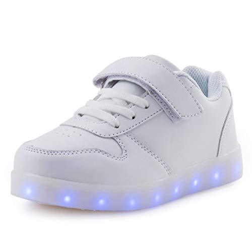 [ダント] スニーカー キッズ 発光シューズ LEDスニーカー LEDシューズ 7色 光る靴 超可愛い USB充電式 スポーツシューズ ボーイズ ガールズ 子供用 カジュアル シューズ (ホワイト 21.5cm)