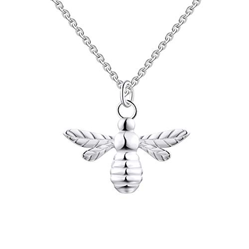FJ Little Bee Pendant in 925 Sterling Silver with 18inch Necklace Best Gift for Women