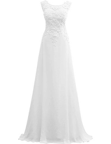 Ballkleider Abendkleider Lang Brautjungfernkleid Festkleider Spitze Chiffon A Linie Weiß EUR50