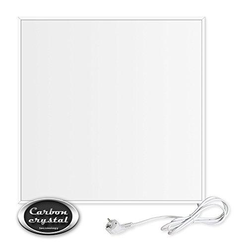 VIESTA CF360 60x60 cm Panneau de Chauffage Crystal Carbon (dernière Technologie) Infrarouge Panneau radiateur Ultra Mince Chauffage Mural Blanc - 360 Watts TH12 Thermostat