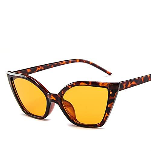SLAKF Gafas duraderas Fashion Gato Ojo Gafas de Sol Mujeres Vintage Gafas de Sol pequeño Rojo Rojo Damas Gafas de Sol Gafas (Lenses Color : Leopard)