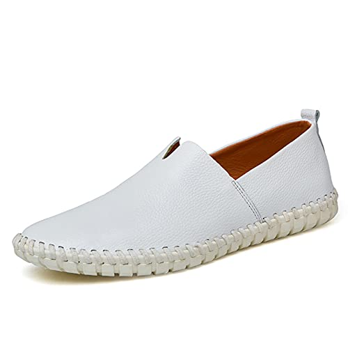 Btrada Men Climbing Flat Loafer Leather Lightweight Round Toe Comfortable Driving Slip-on Shoes for Youth White