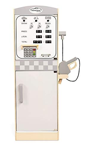 Pompa di benzina in legno - 2 porte scorrevoli con porte interne - Armadio per bambini - Misura: 30 x 36 x 86 - Giocattolo in legno