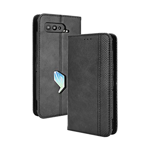 XINNI Robustes Etui für Asus ROG Phone 5 Hülle, PU/TPU Retro Klappetui Stoßfeste Schutzhülle Flip Handyhülle Magnetisch Handyhülle Hülle Cover, Schwarz