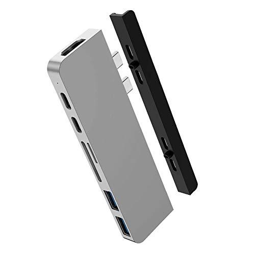 HyperDrive USB C Hub, Mac Type-C Dual Hub Adapter for MacBook Pro Air 13' 15' 16' iPad Pro, USB-C Devices, 7in2: USBC PD 100W 40Gbps, 4K HDMI, microSD/SD Card Reader, 2xUSB 3.1 Sanho Space Grey