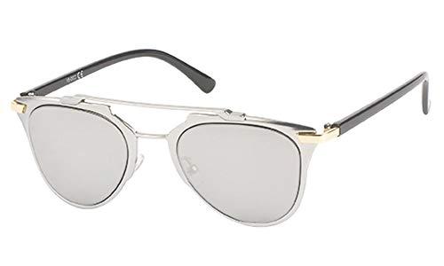Chic-Net Sonnenbrille Retro Zwickerform Brille 400 UV Metallrahmen Doppelsteg klassisch silber
