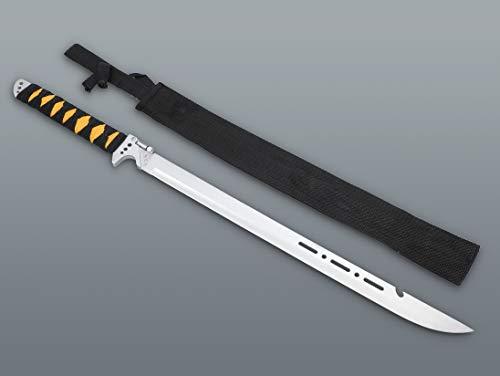 KS-11 Survival Machete mit LED Lampe - Outdoor - großes Messer mit Scheide - Jagdmesser - Hunting - Buschmesser - Ninja Zombie Machete Silber schwarz gelb