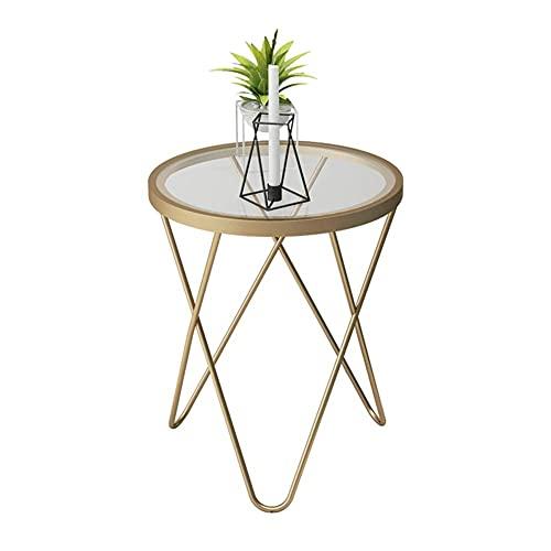 Mesa de centro moderna minimalista dorada pequeña mesa redonda creativa de vidrio templado hierro forjado pequeña mesa auxiliar para oficina, sala de estar, zona de ocio/dormitorio (47 x 62 cm)