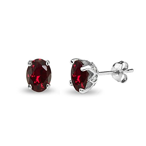 Sterling Silver Synthetic Ruby and White Topaz Oval Crown Stud Earrings