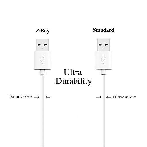 ZiBay 7-Inch Micro USB Sync Cable for Samsung, HTC, Motorola, Nokia, Android, and More (5 Pack) (White)