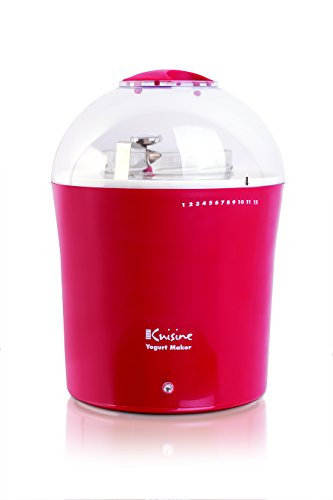 Euro Cuisine 2qt Yogurt and Greek Yogurt Maker with Glass Jar (Red)