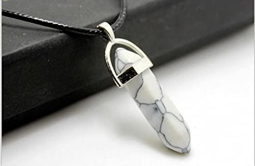 GoodLuck Curación Radiestesia Péndulo de Cristal Natural Hexágono Punto Piedras Colgante Collar de Mujer Joyería para Fiesta Amistad
