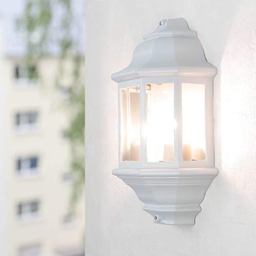 Große Wandleuchte in weiß-graumatt inkl. 2x 12W E27 LED 230V Wandlampe aus Aluminium Glas für Garten Terrasse Weg Lampen Leuchte außen