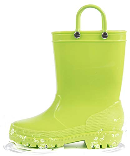 HugRain Toddler Rain Boots Boys Little Kids Waterproof Shoes Lightweight Adorable Cute Solid Rubber mud Boots Non Slip with Easy-On Handles (Size 8,Green)