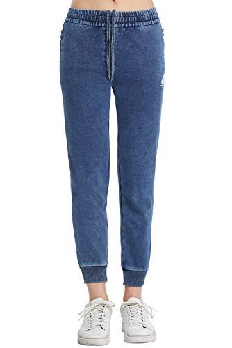 Extreme Pop - Pantaloni da Jogging in Jeans da Donna, in Spugna, Elasticizzati (Denim Blue, M)